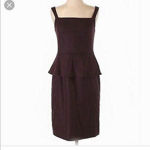 Banana republic burgundy wool peplum dress 00P
